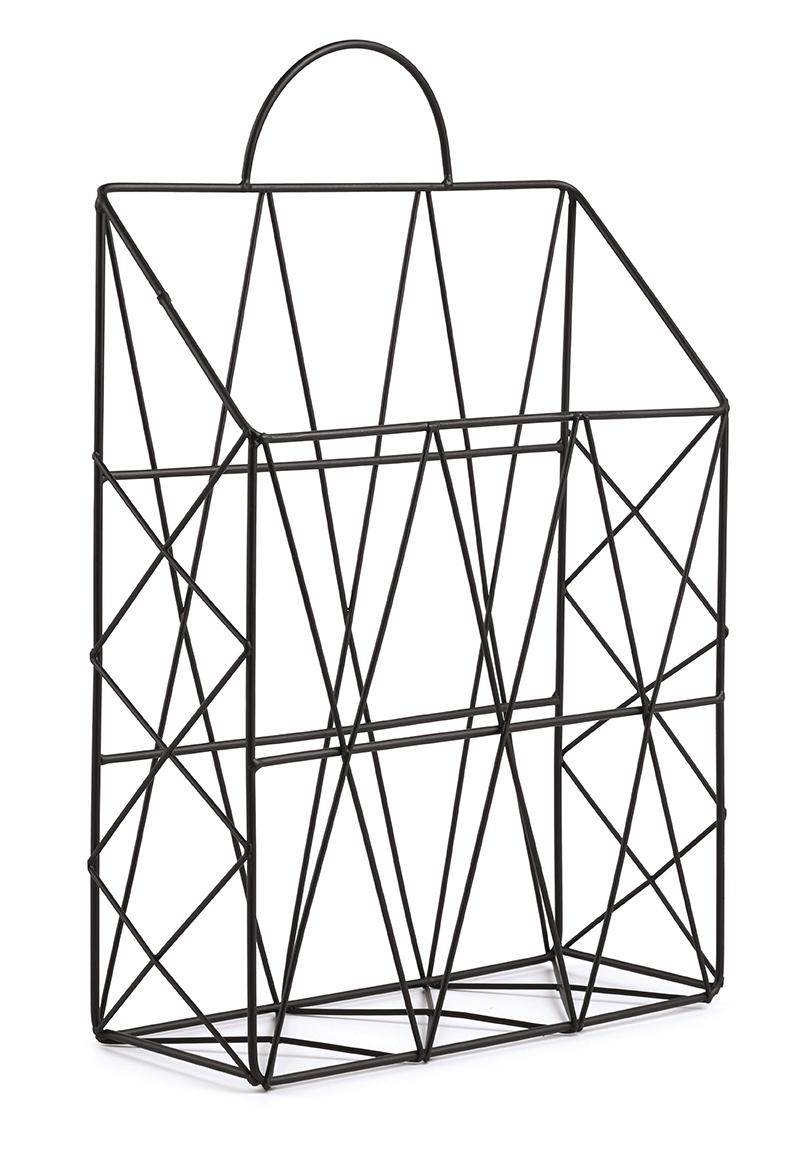 Porta Revistas Preto em Metal 38 cm x 25 cm x 9 cm