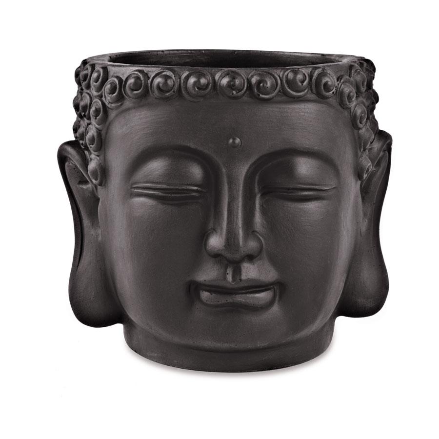 Cachepot Buda Preto Em Cimento