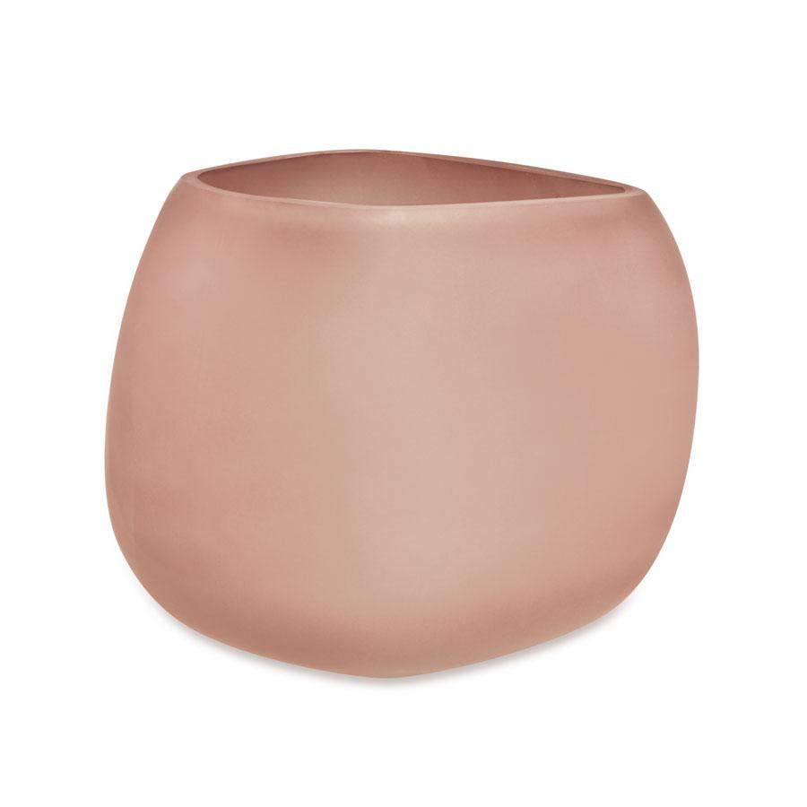 Vaso em Vidro Rosé 14 x 17 x 18 cm