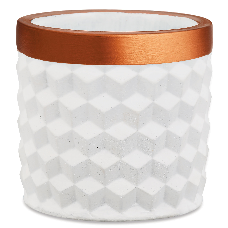 Kit Cachepot Branco Em Cimento - 3Pcs