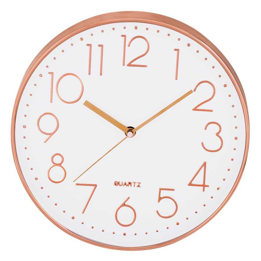 Relógio de Parede Branco e Rose Gold