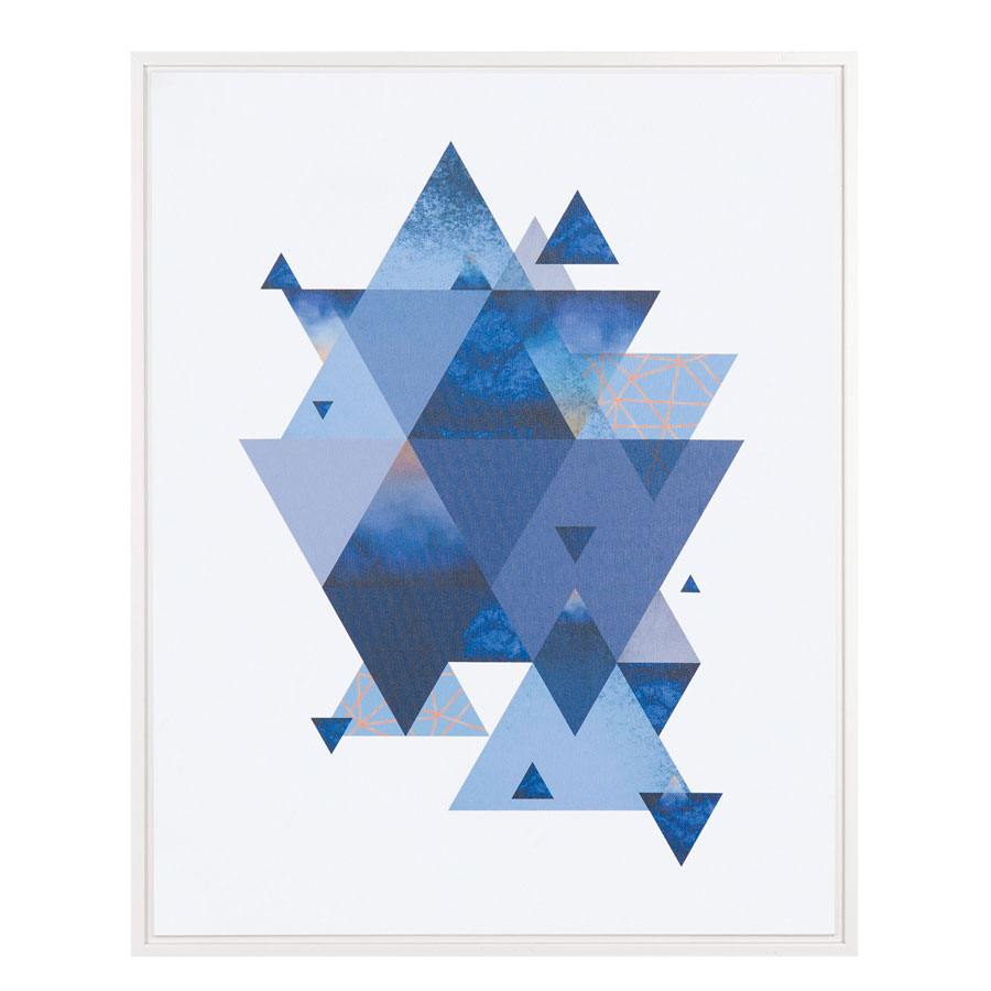 Quadro em Canvas Triângulos Azul
