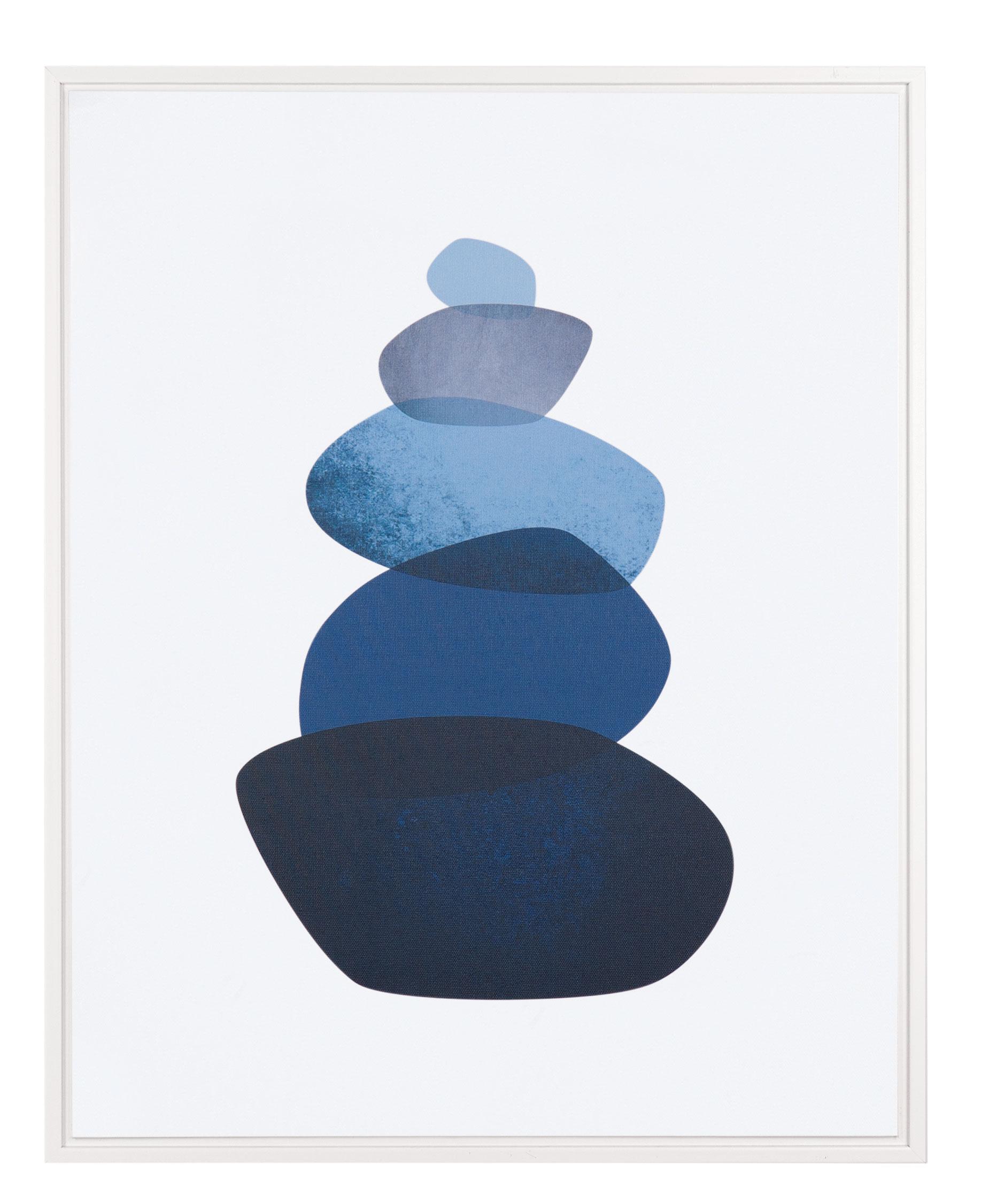 Quadro Pedras Azul e Branco 50cm x 40cm x 2,5cm