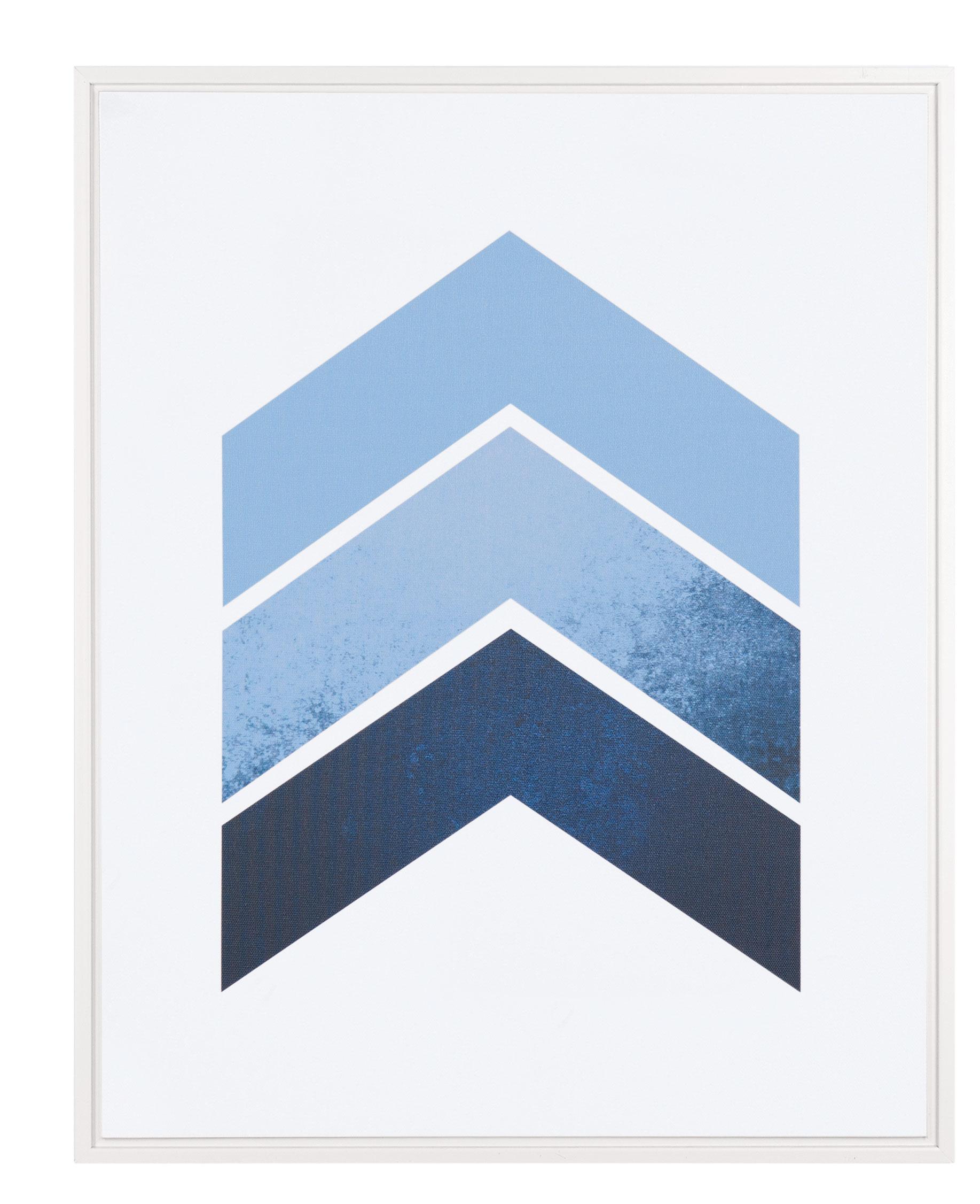 Quadro Setas Azul e Branco 50cm x 40cm x 2,5cm