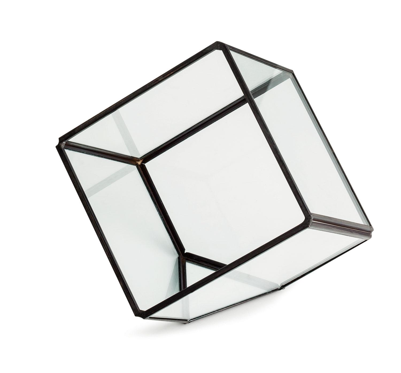 Terrario Preto Em Vidro E Latao 15,5 cm x 15 cm x 16 cm