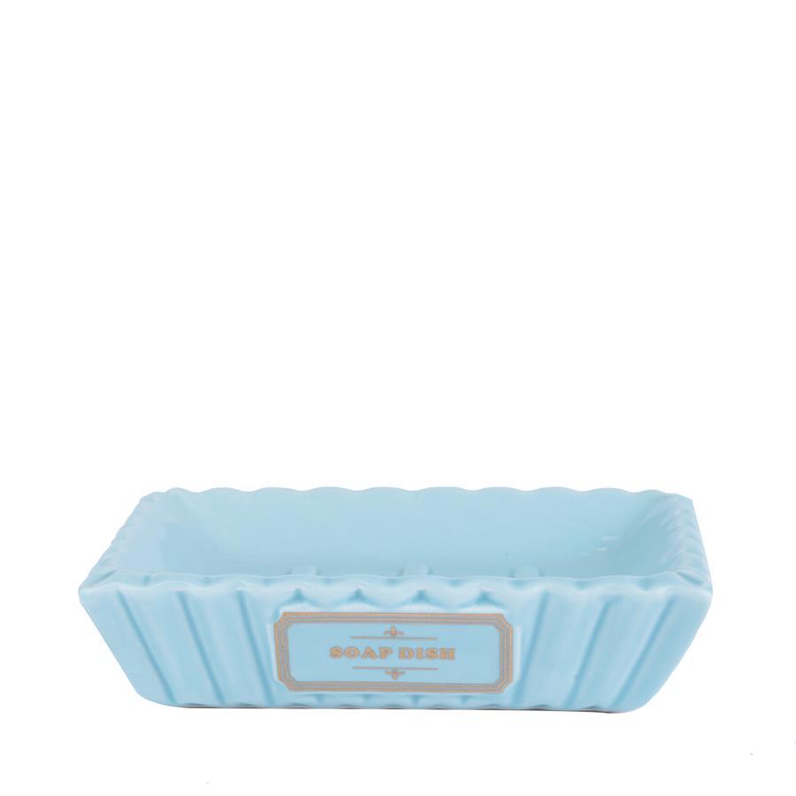 Kit para Banheiro De Cerâmica Gold Thread Azul