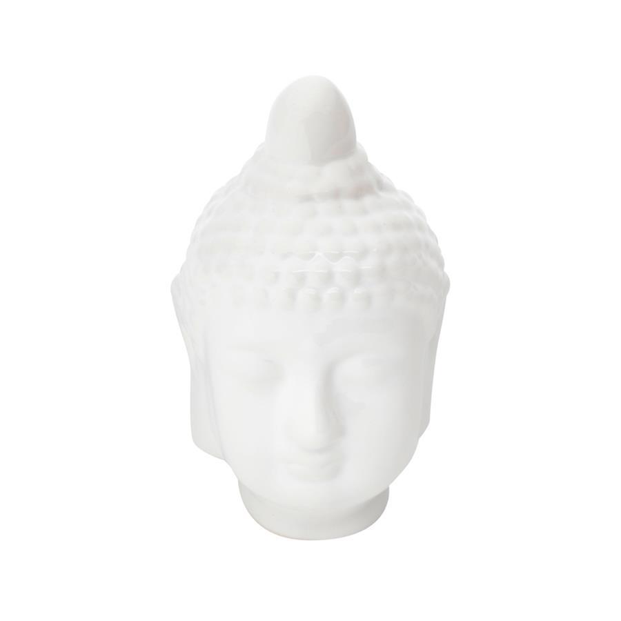 Decoração Cabeça de Cerâmica Buda Head Branca
