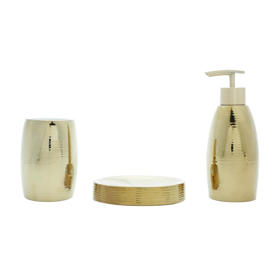 Kit para Banheiro Cerâmica Shinny Gold Dourado