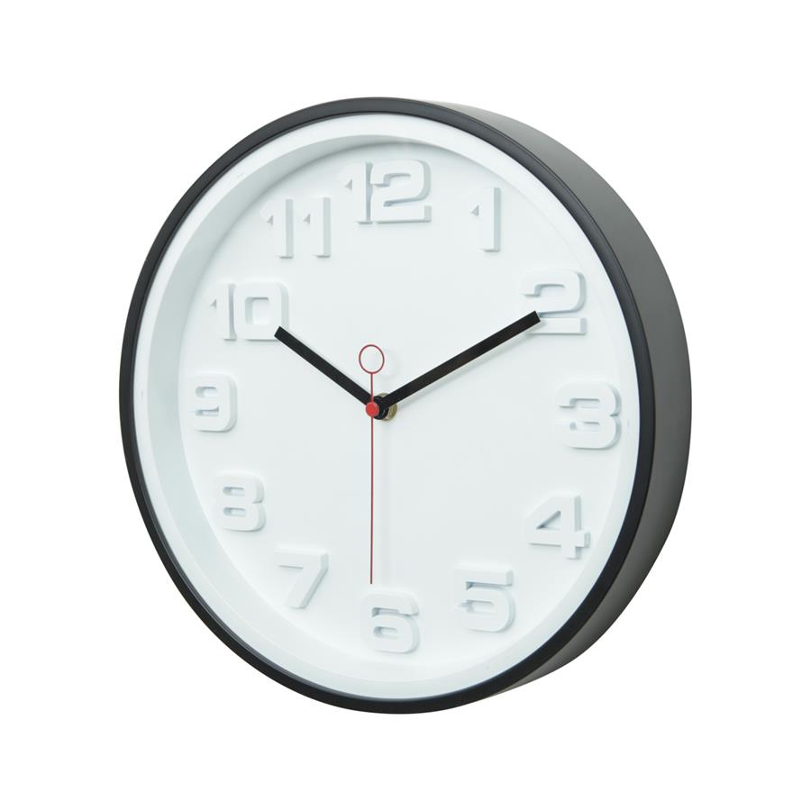 Relógio Parede Moderno Preto e Branco em Plástico Thick Numbers