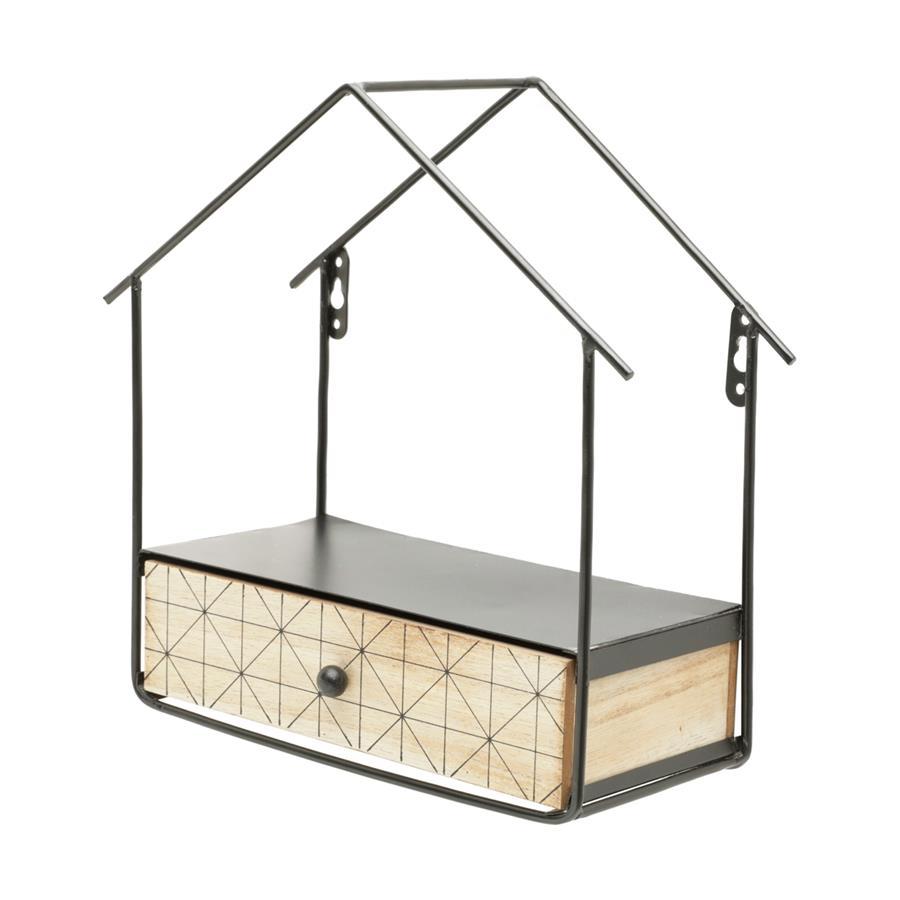 Mini Prateleira Madeira/Metal House Shape Bege/Preto