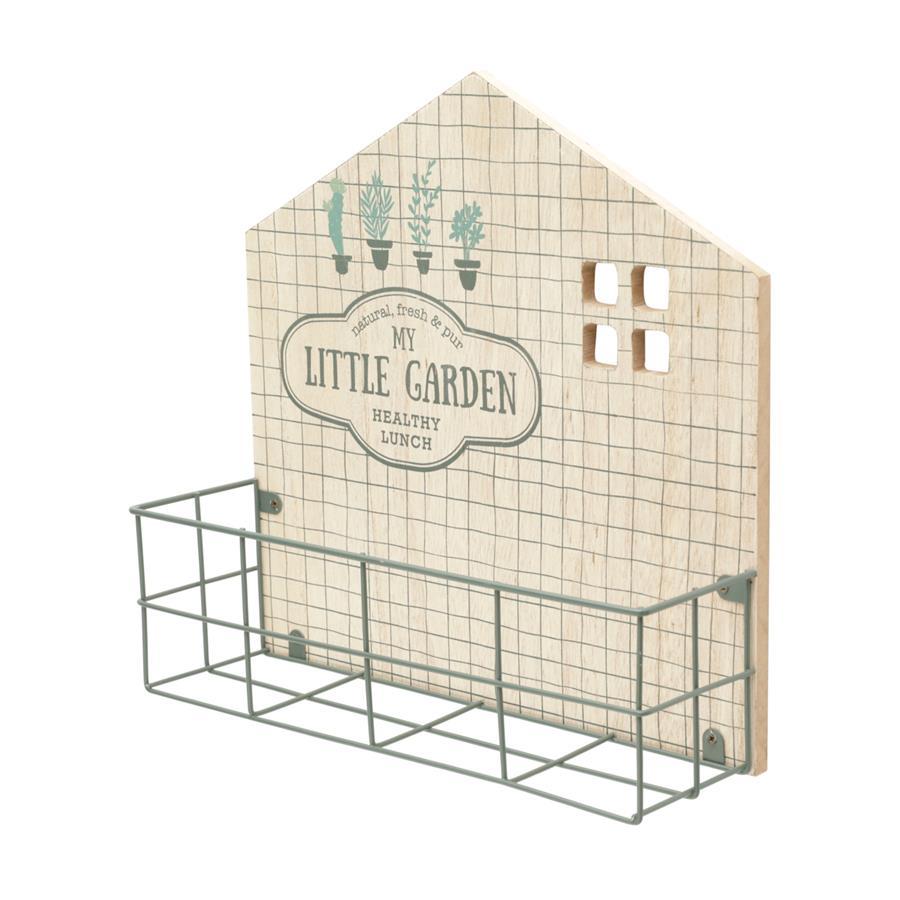 Mini Prateleira Madeira/Metal Vintage Little Garden Bege/Preto