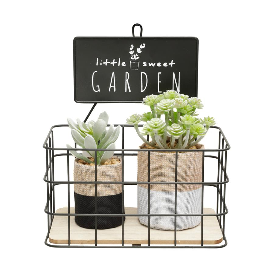 Prateleira Metal/Madeira Little Sweet Garden Preto