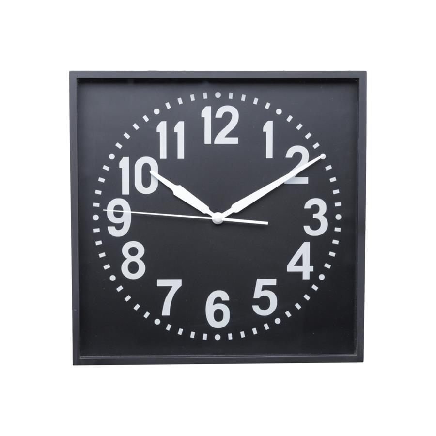 Relógio Parede Plástico Square Round Preto E Branco