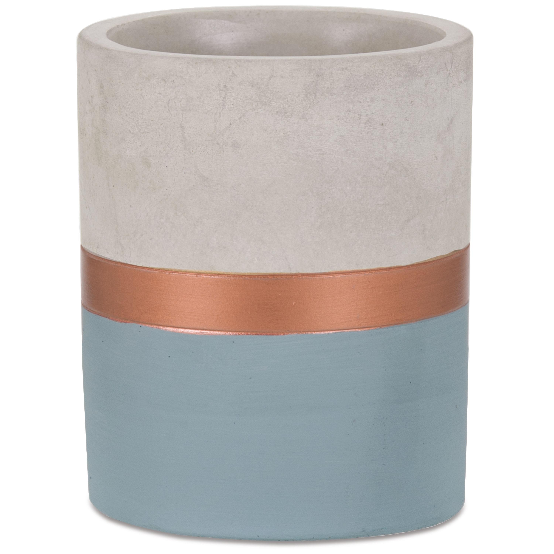 Mini Vaso Azul E Cobre  Em Cimento 13 x 10 cm