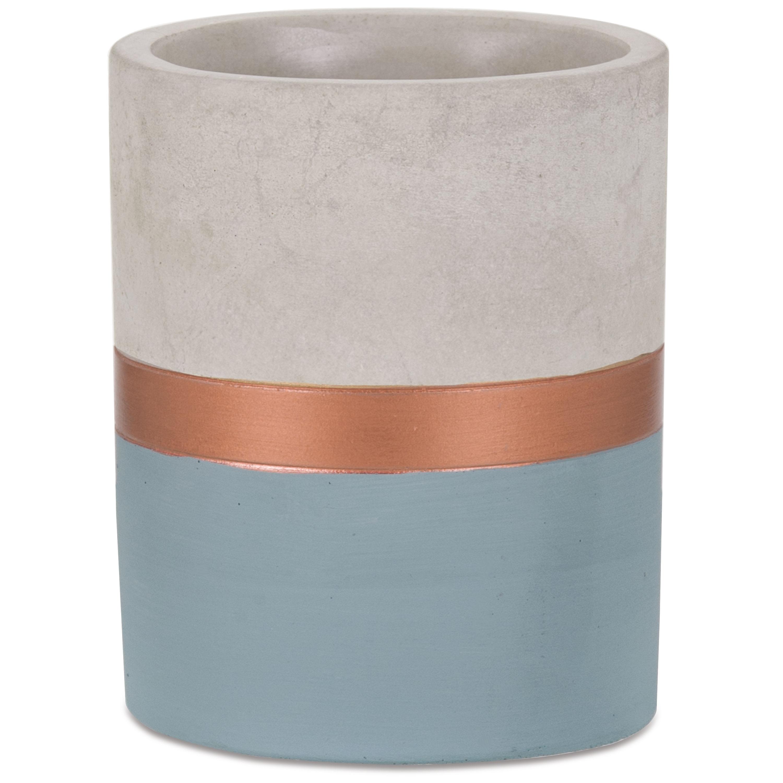 Mini Vaso Azul E Cobre  Em Cimento 11 x 9 cm