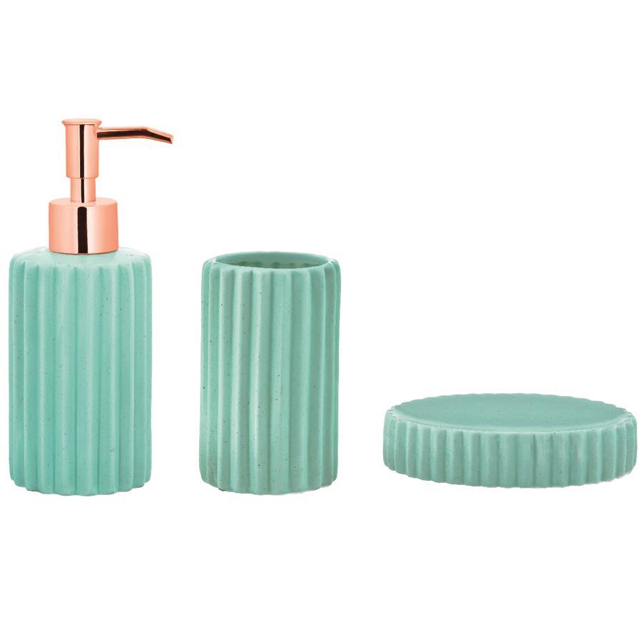 Kit Para Banheiro Menta Em Cerâmica