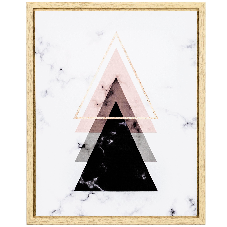 Quadro em Canvas Triângulos Rosa e Preto