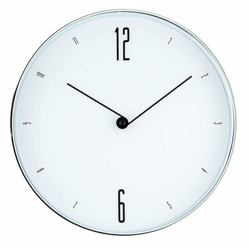 Relógio de Parede Branco e Prata