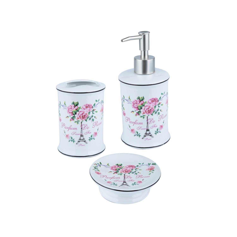 Kit para Banheiro Paris Flowers Fd Branco
