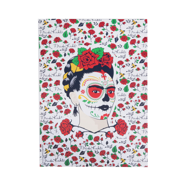 Tela Frida Khalo Face W Flowers Fd Branco