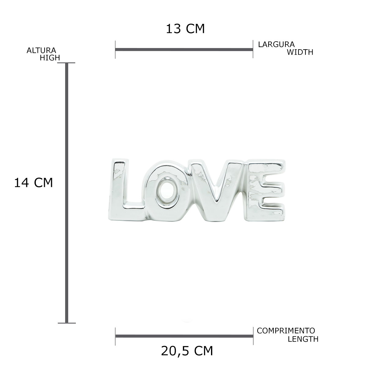 Letras Cerâmica Letter Rustic Love Prata 22,6X3,3X7,6Cm