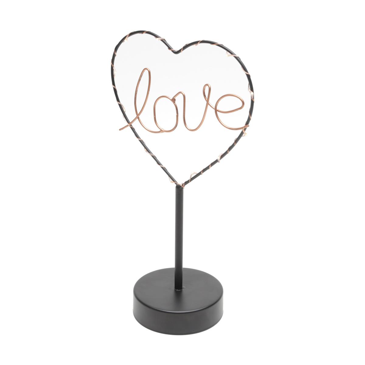 Luminária Mesa Metal Love Heart Com Led Preto 29.5 x 9.5 x 16.5 cm