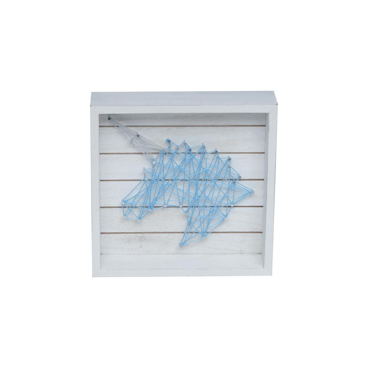 Quadro Madeira String Art Thick Frame Unicornio Azul 20,32X5,08X20,32Cm