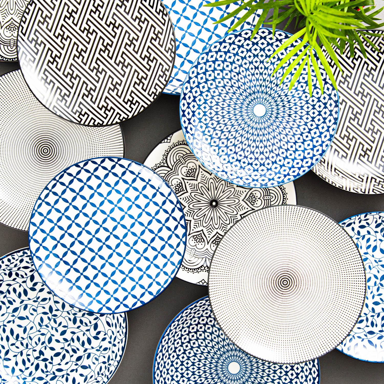 Prato Porcelana Decor Symmetric Mandala Preto E Branco 2.5 x 19.3 x 19.3 cm