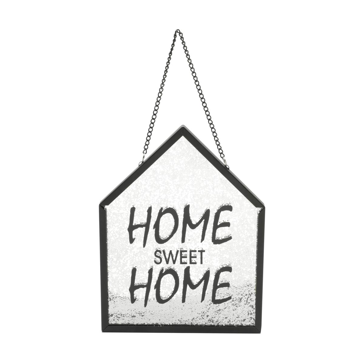 Placa Vidro Glitter Home Sweet Home Preto 15X20Cm
