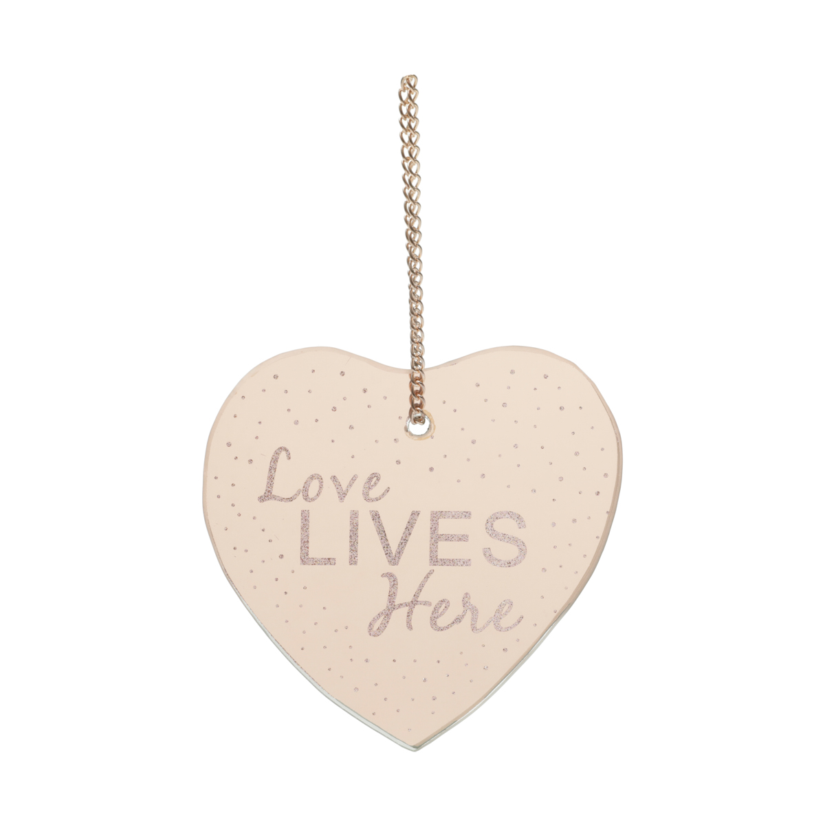 Placa Metal Mirror Heart Shape Love Cobre 12X12,5Cm