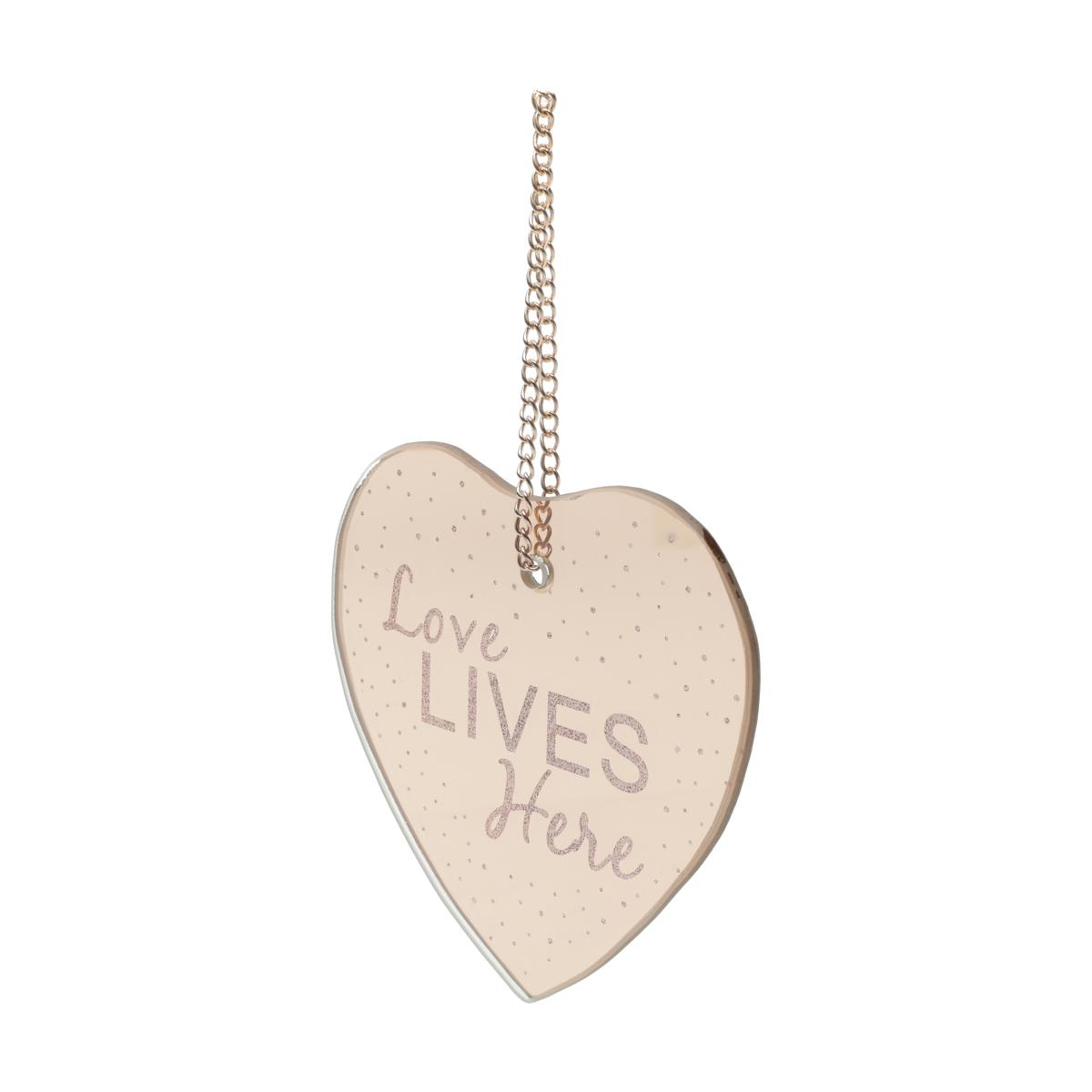 Placa Metal Mirror Heart Shape Love Cobre 12X12,5Cm