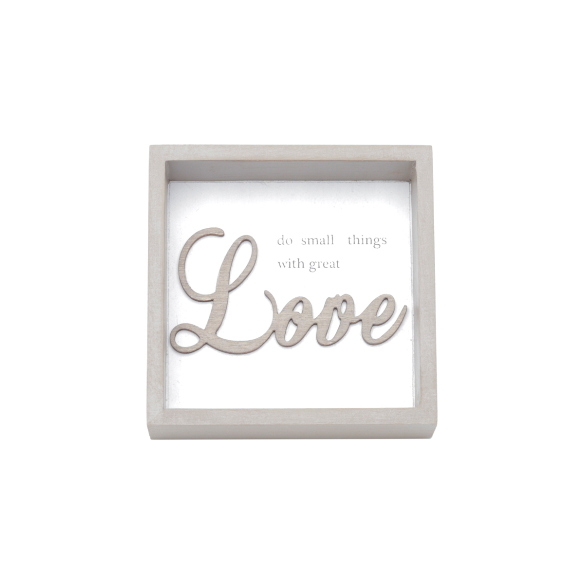 Quadro Madeira Square Small Things Great Love Fd Branco 10 x 3 x 10 cm