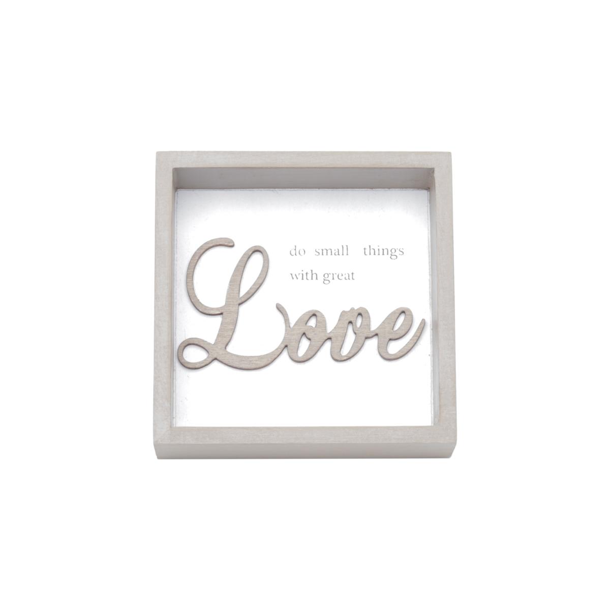 Quadro Madeira Square Small Things Great Love Fd Branco 10 x 3 x 10 cm