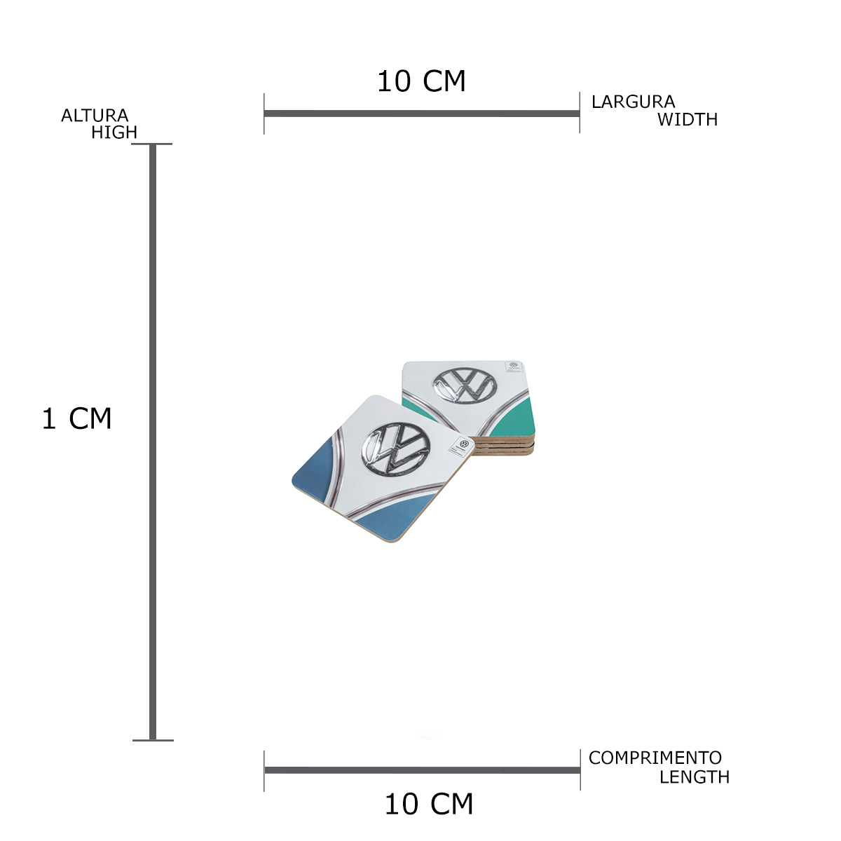 Jogo de 6 Pcs Porta Copo Cortiça Vw Kombi Hood Colorido 10 x 0.5 x 10 cm