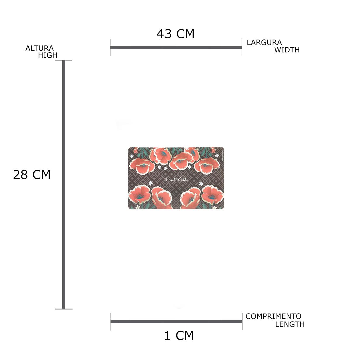 Jogo Americano Plástico Fk Red Flowers Fd Preto 0.1 x 43.5 x 28.3 cm - 4 peças
