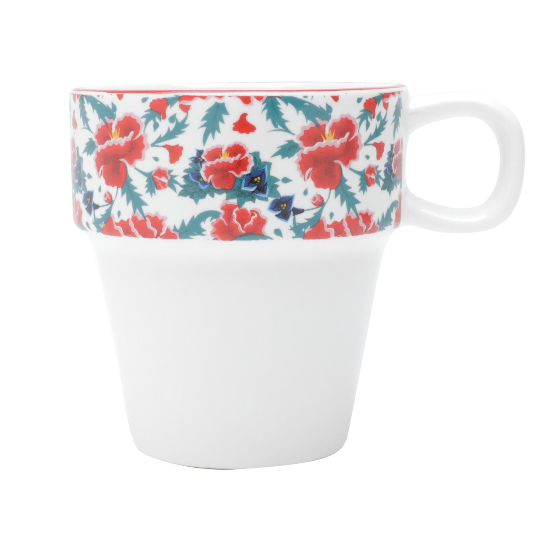 Jogo de 5 Pcs Xícara Porcelana Cappuccino Fk Colored Flowers Fd Branco 11 x 9 x 21 cm - 225 ml