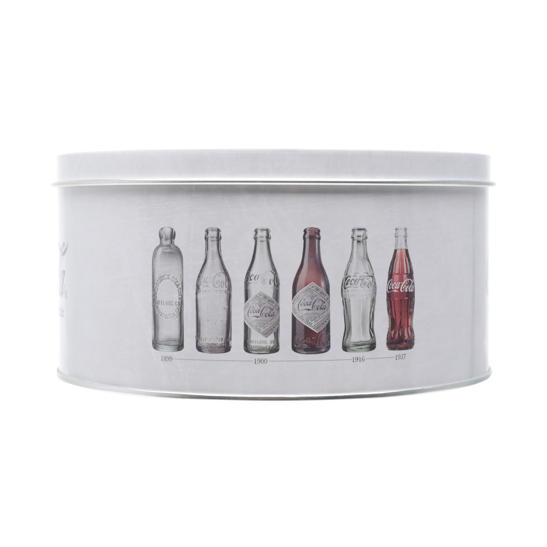 Jogo de 3 Latas Metal Round Coca-Cola Evolution Of Bottles Cinza