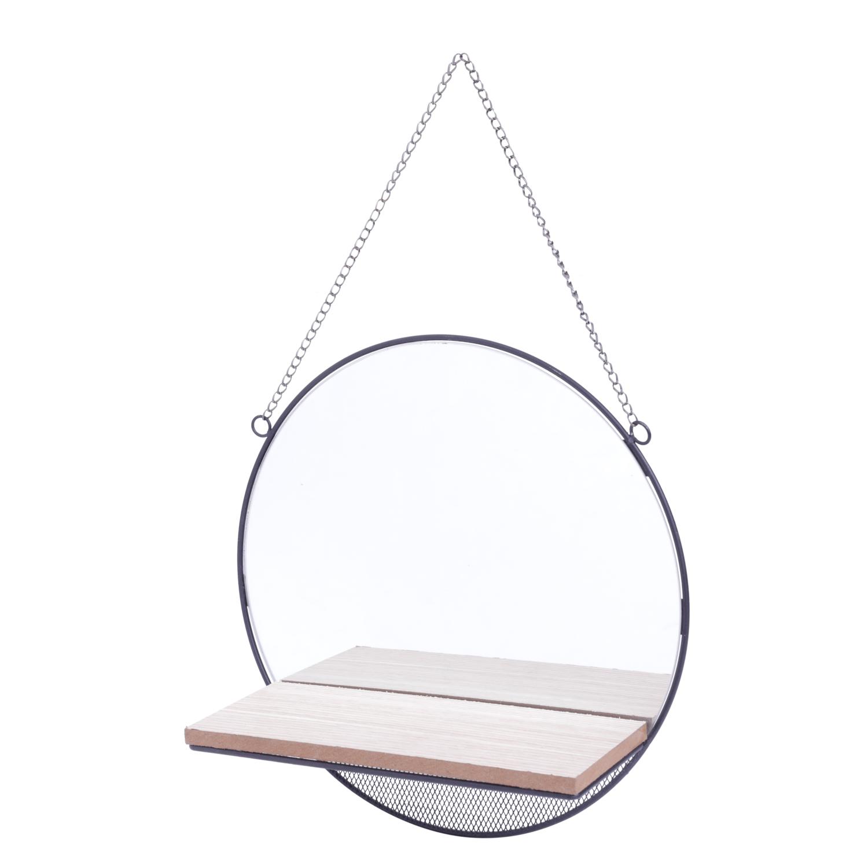 Espelho Emoldurado com Prateleira de Madeira Round Visions Bege 1.5 x 30 x 30 cm