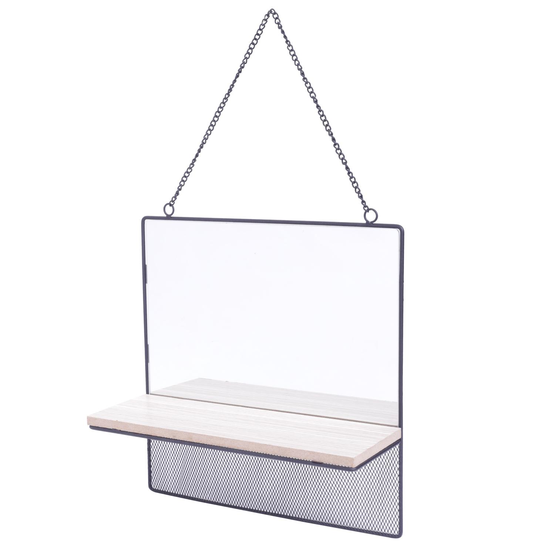 Espelho Emoldurado com Prateleira de Madeira Square Visions Bege 1.5 x 30 x 30 cm