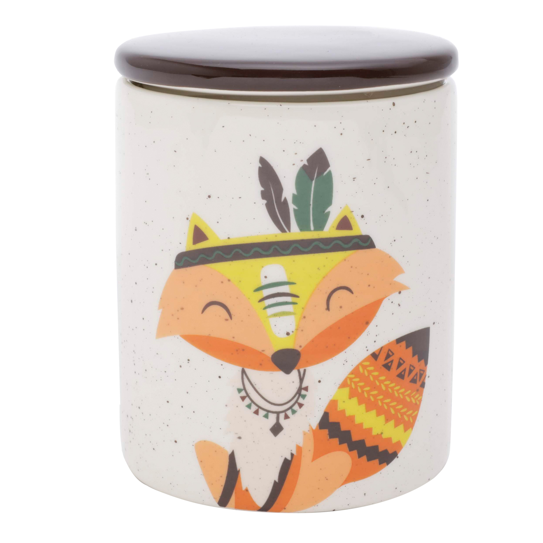 Potiche em Cerâmica Granilite Apache Fox Branco 10,3X10,3X13Cm