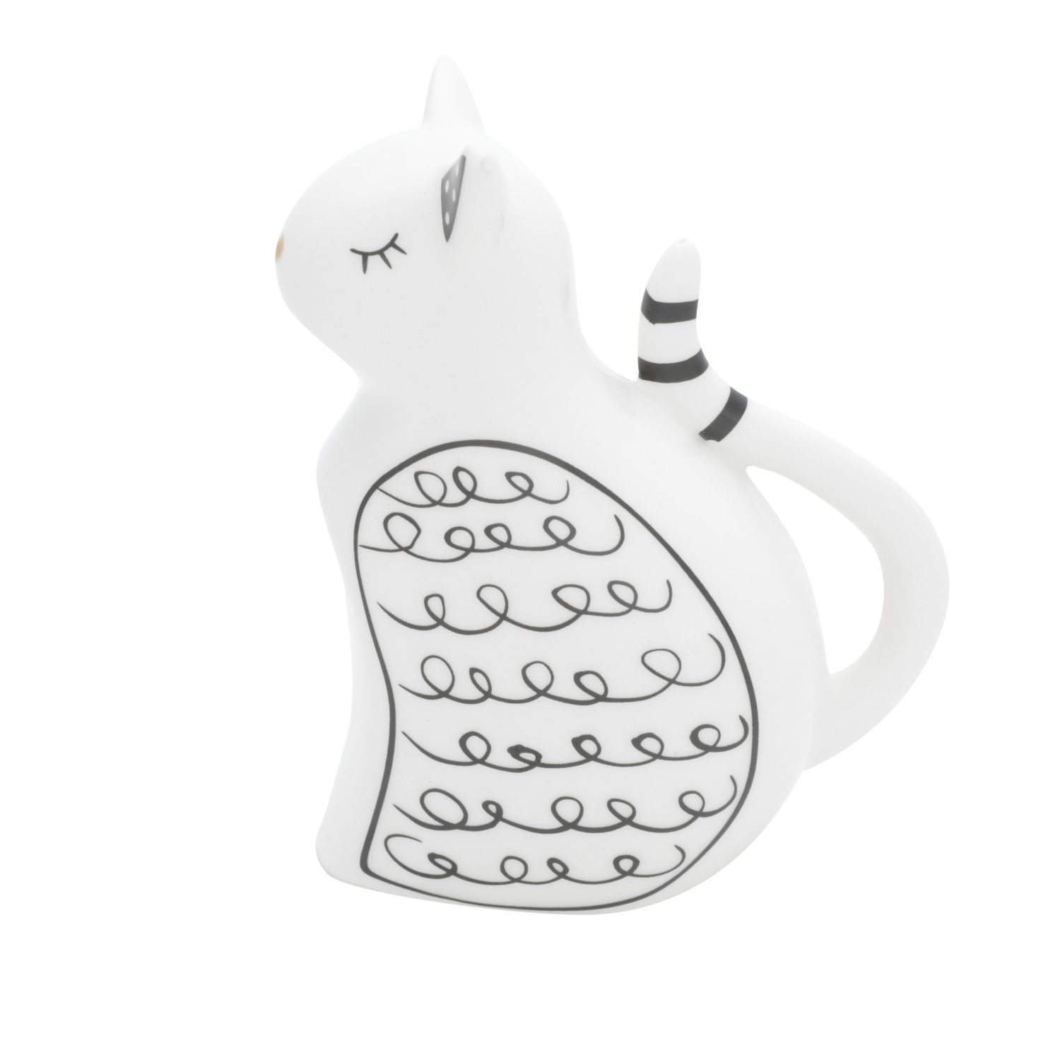 Gato de Porcelana Lovely Cat Branco 5,5X9,6X11,5Cm