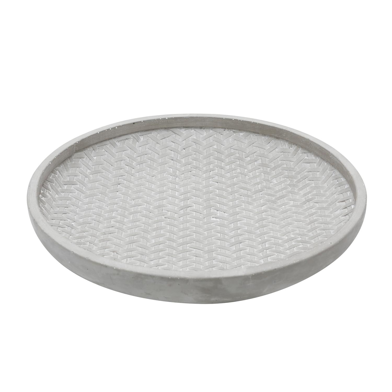 Centro De Mesa Concreto Roundond Plate Cinza 5 x 30.5 x 30.5 cm