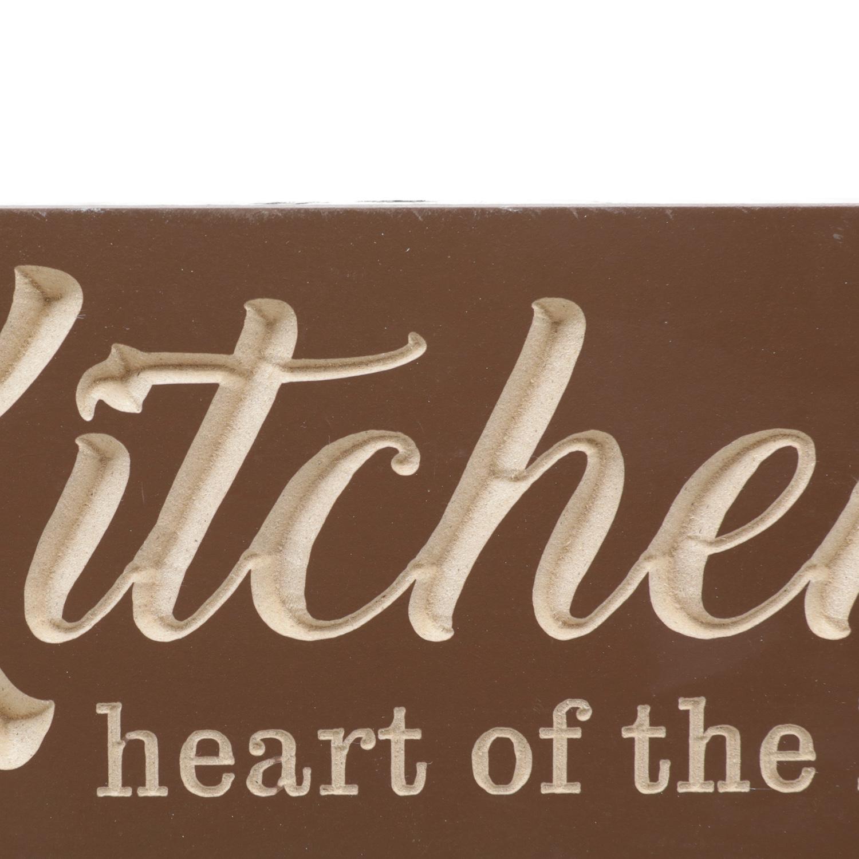Cabideiro Madeira Ganchos Kitchens Heart Marrom 18 x 1.5 x 40 cm