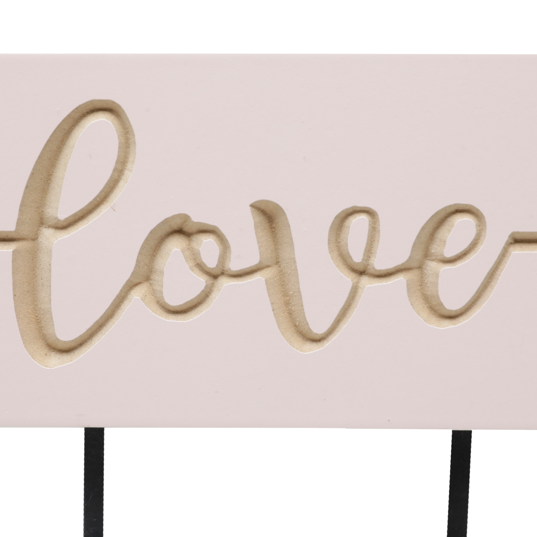 Cabideiro Madeira Ganchos Love Arrow Rosa 17 x 1.5 x 40 cm