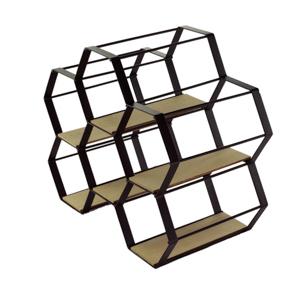 Adega Metal Madeira Hexagon Preto