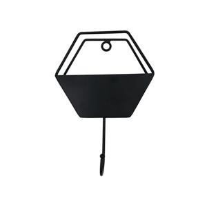 Gancho com vaso Parede Metal Hexagon Wire Preto