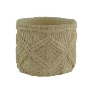 Vaso Concreto Macramê Branco 10 x 12 x 12 cm