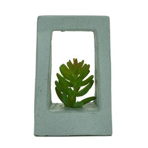 Vaso com suculenta artificial - Concreto Square Cinza 8.5 x 3.5 x 6 cm