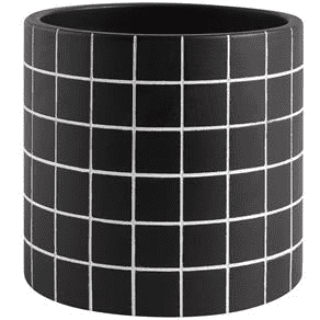 Kit Cachepot Preto Quadriculado Em Cimento - 3 peças