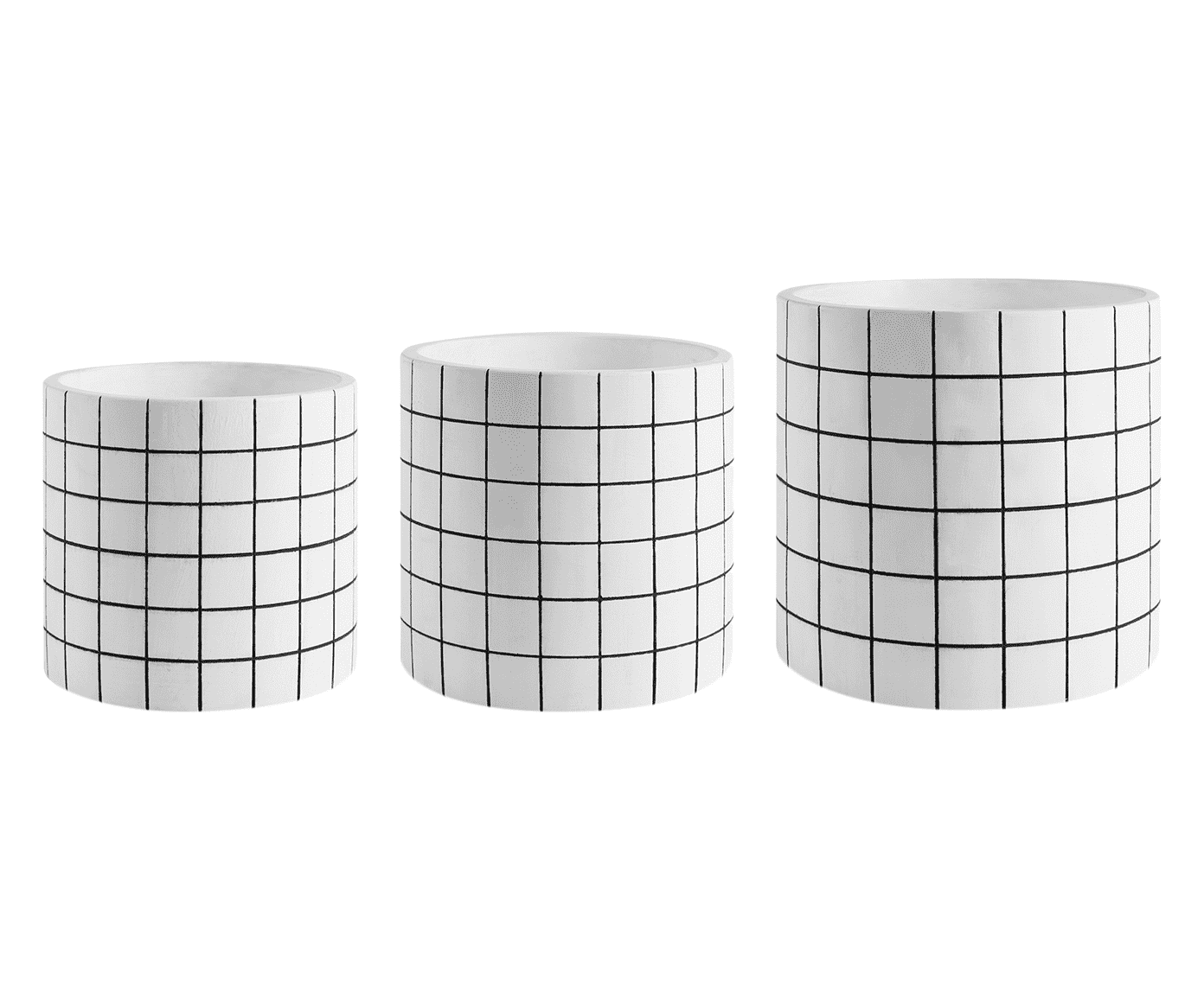 Kit Cachepot Branco Quadriculado Em Cimento - 3 peças
